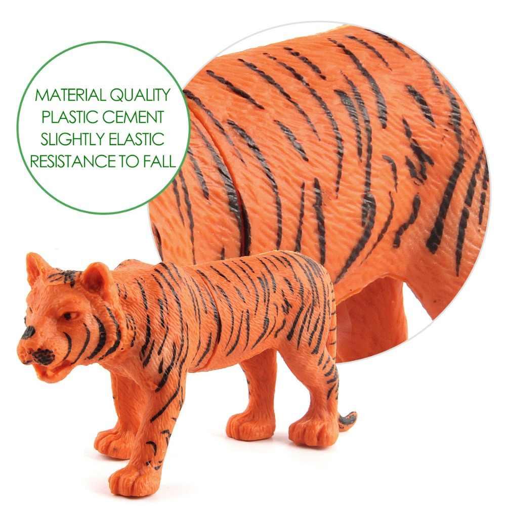 12 pçs/lote Kingom Modelos de Simulação Animal Selvagem Lobo Leão Rinoceronte Antílope Leopardo Zebra Cavalo Figura Brinquedos Educativos para Crianças