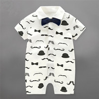 Newborn Baby Romper Toddler Infant Baby Boy Girl Clothes Mustache Waistcoat Aircraft Commander Romper Jumpersuit Playsuit
