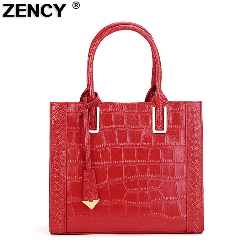 ZENCY Genuine Leather Women Tote Bags Ladies Real Leather Handbags Long Strap Messenger Bag Hobo Satchel