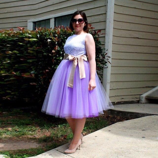 4a819e385a Plus Size Tulle Skirts Lavender Faldas New Arrival Puffy Midi Skirt Saias  Das Mulheres Girlfriend Gift Tutu Skirts With Bow