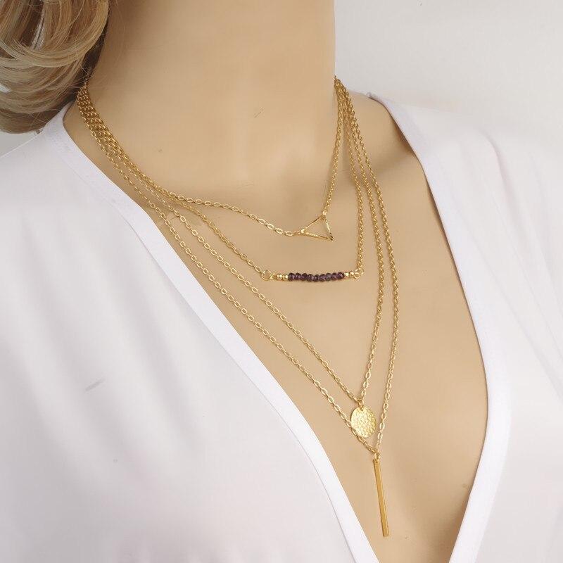 ( Mimi $5 ) venta caliente nueva moda de tres capas triángulo redondo chapado en oro