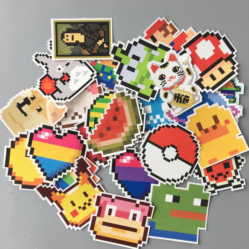 aqk-25pcs-lot-cartoon-mario-pikachu-pixel-style-stickers-for-skateboard-luggage-laptop-notebook-guitar-car-dope-stickerbomb-pack