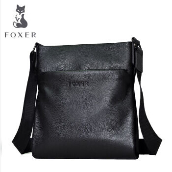 Famous Brands Foxer Genuine Cow Leather men's Business Shoulder Bag Casual Crossbody Bags For men original stereo car bluetooth headset wireless earset bluetooth headfree car kit earphone headphone with base charging dock