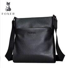 Famous Brands Foxer Genuine Cow Leather men's Business Shoulder Bag Casual Crossbody Bags For men