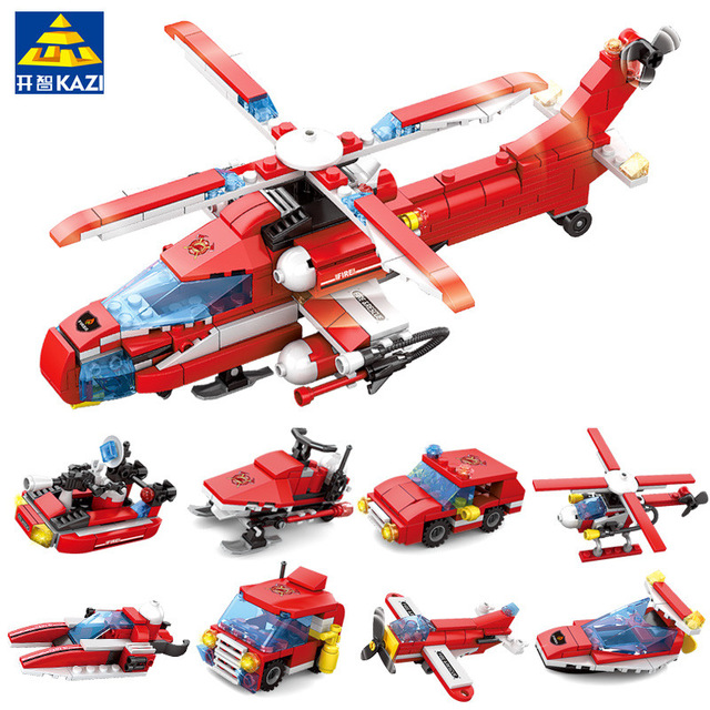 83pcs Firefighting Fire Helicopter Car Fireman Diy Building Blocks Compatible City Educational Brick Toys For Children Blocks Model Building