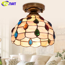FUMAT ceiling lights Tiffany lamp Stained Glass luminaria plafondlamp LED Lighting Fixture E27 8 Inch loft Home deco shell Lamps