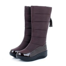New Arrival Women Snow Boots Keep Warm Fur Shoes Thick Flat Heels Platform Shoes Casual Dress Slip On Soft Autumn Winter Boots