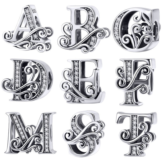 BISAER Hot Sale 925 Sterling Silver Letter A To Z Alphabet Shape Beads Charms fit for Charm Bracelets Silver 925 Jewelry Making