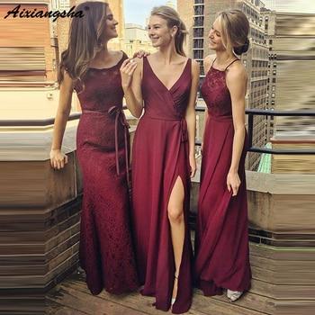 Mixed Style Burgundy Long Bridesmaid Dresses 2019 Cheap V-neck Lace Chiffon Maid of Honor Dress vestidos de fiesta de noche