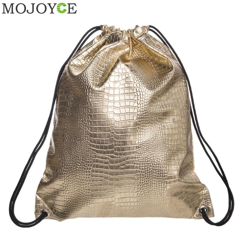 Gold Solid PU Backpack Women 2018 New Leather Backpack Best Selling Fashion Skull  Drawstring Bags School