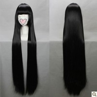 80CM Long Straight Cosplay Shakugan No Anime Black Synthetic Hair Party Women's Lolita Hair Party Headwear Accessories