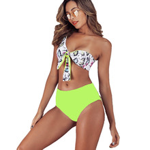 цена на 2019 Sexy One Shoulder Two Pieces Swimsuit Female Reversible Design Strappy Bikini Set Bandeau Top High Waisted Swimwear
