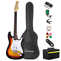Donner 39 Inch Electric Guitar Kits Maple Neck Solid Basswood Body 21 Frets + Guitar Bag Tuner Accessories Full Size