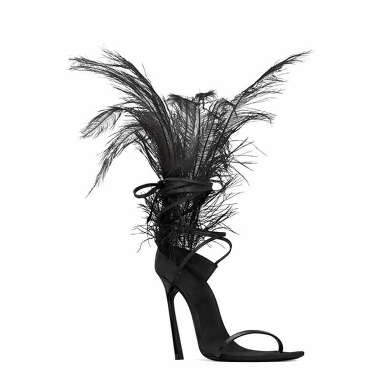 MStacchi nueva pluma sandalias para mujeres de avestruz decoración para el pelo de alta sandalia femenina con tacón gladiadores sandalias de las señoras de la piel zapatos de fiesta