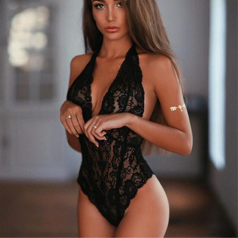 Sexy Black White Lace V Neck Bodysuits For Women Female Sleeveless Hollow Out Halter Mesh Crochet Rompers lingerie top
