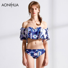 AONIHUA Bikini Floral Printing Off Shoulder Sexy Ruffle New Summer Beachwear Bathing Women Surf Swimwear