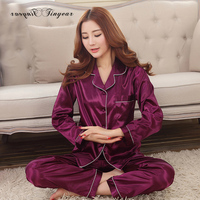 2016 Spring New Arrival Women Satin Pyjamas Long Sleeve Nightdress Two Pieces Big Size V Neck