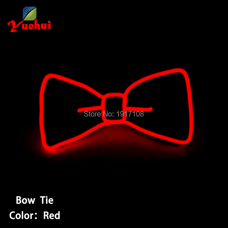 Red color 2017 Fashion and Flashing EL bow tie with Steady on EL Driver For Holiday Party, Bar and Nightclub Decoration