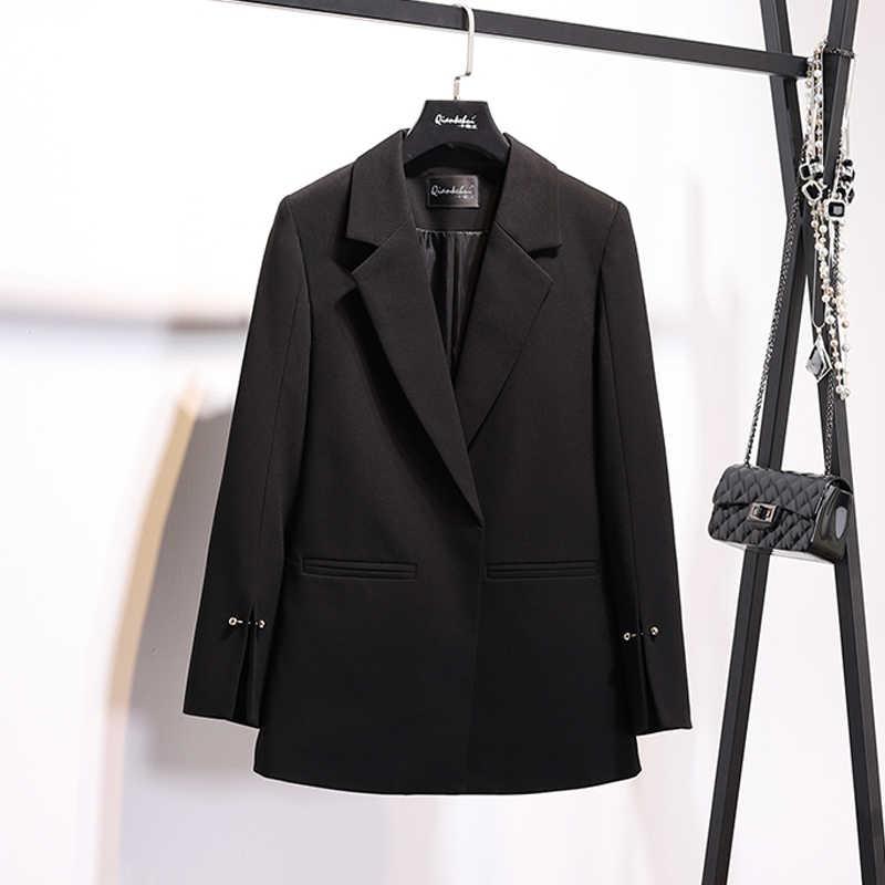 2018 Yeni Bahar ve sonbahar küçük takım elbise ceket kadın manşet split inci toka uzun takım elbise vahşi rahat casual bayanlar tops c304