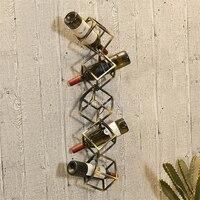 Creative European Style Simple Geometric Cube Design 1 5 Bottles Grape Red Wine Bottle Holder Wall Hanging Wine Stand Rack Shelf
