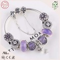 Very Beautiful Silver Jewelry Shining Purple Charm Series Famous Brand 925 Real Silver Bracelet