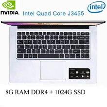 P2-37 8G RAM 1024G SSD Intel Celeron J3455 NvIDIA GeForce 940M Gaming laptop keyboard and OS language available for choose