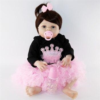 New face design Bebe Reborn Doll 57 cm Full Silicone Vinyl real alive Girl Baby Doll Toys For Children Xmas Gift Menina Brinqued