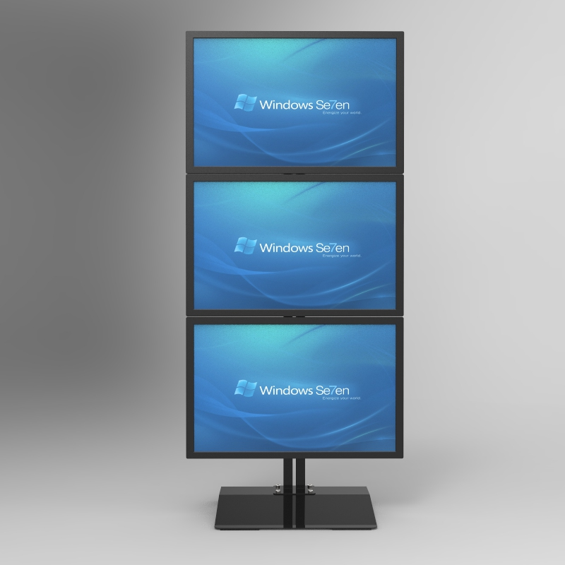 Desktop Stand / Floor Stand Full Motion Vertical Arrangement Triple Screen Monitor Holder S036Desktop Stand / Floor Stand Full Motion Vertical Arrangement Triple Screen Monitor Holder S036