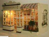 A008 de Bricolaje Casa De Muñecas grande Europeo de alimentos tienda Miniatura Casa De Muñecas De Madera miniatura 3D Modelo de Juguete hecho a mano tienda