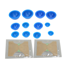 12Pcs/Set Silicone Cupping Cups Medical Vacuum Massage Cupping Glass With 2Pcs Moxa Sticks Health Care Travel Set