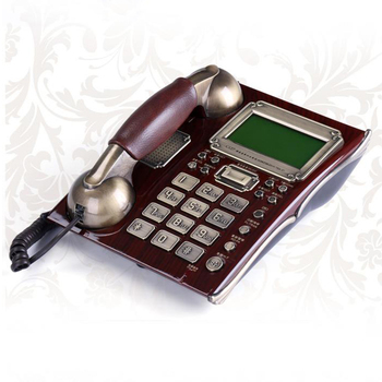 Office Antique Vintage Handfree Fixed Telephone Landline High-end With Leather Handset For company Business Home Brown