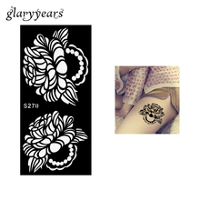 1 Piece ity Henna Tattoo Stencil For Women Female Body Art Airbrush Painting Tattoo Stencil Colored Drawing S270