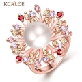 Colorful Zircon Ring  Rose Gold Plated White Round Simulated Pearl Bride Crystal Jewelry Large Flower Ring For Women