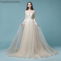 SIJANE 2018 deep V neck Lace Dress Beach prom Gowns Tulle party Dresses0318