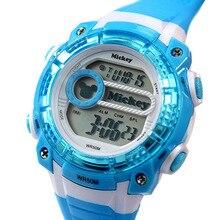 Disney бренда Микки Дети Цифровые Наручные Часы 50 м водонепроницаемый Микки Мальчики Сигнализации календарь Световой Плавать спортивные часы
