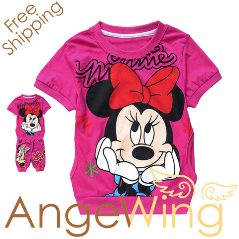 Children girl's Minnie mouse 2pc set leisure clothing suit, kids short sleeve sports clothes free shipping