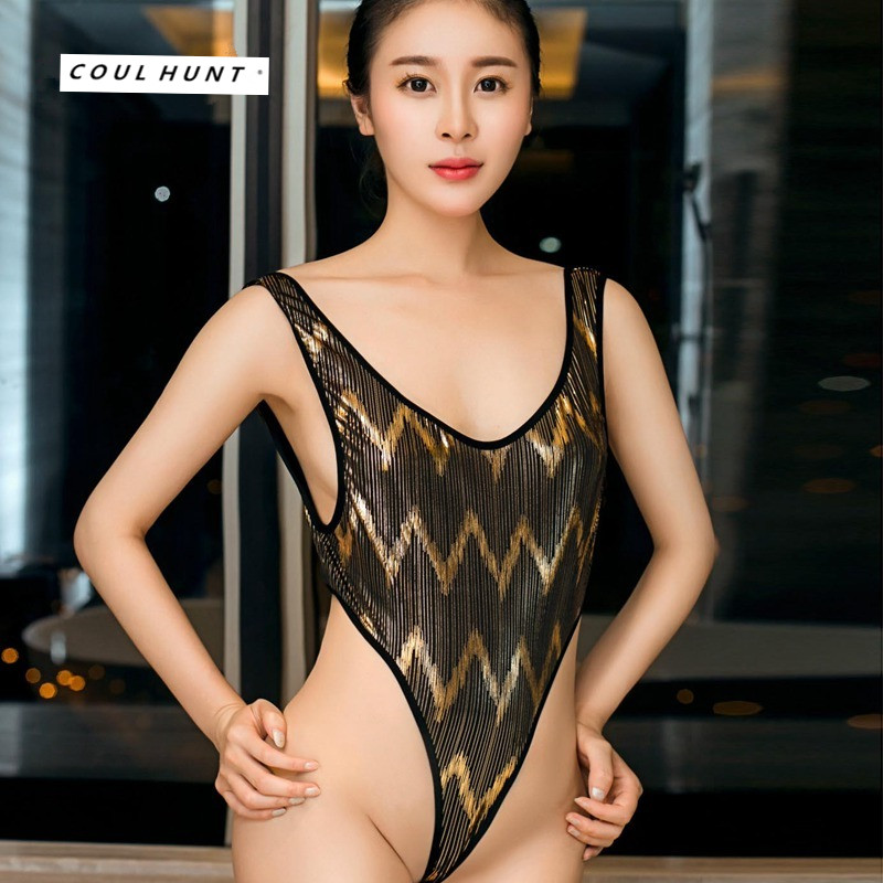 Sexy Shiny Gold Striped Bodysuit High Elastic Water Ripple Backless Thong Sukumizu Women Low Bust High Cut One Piece Bodysuits