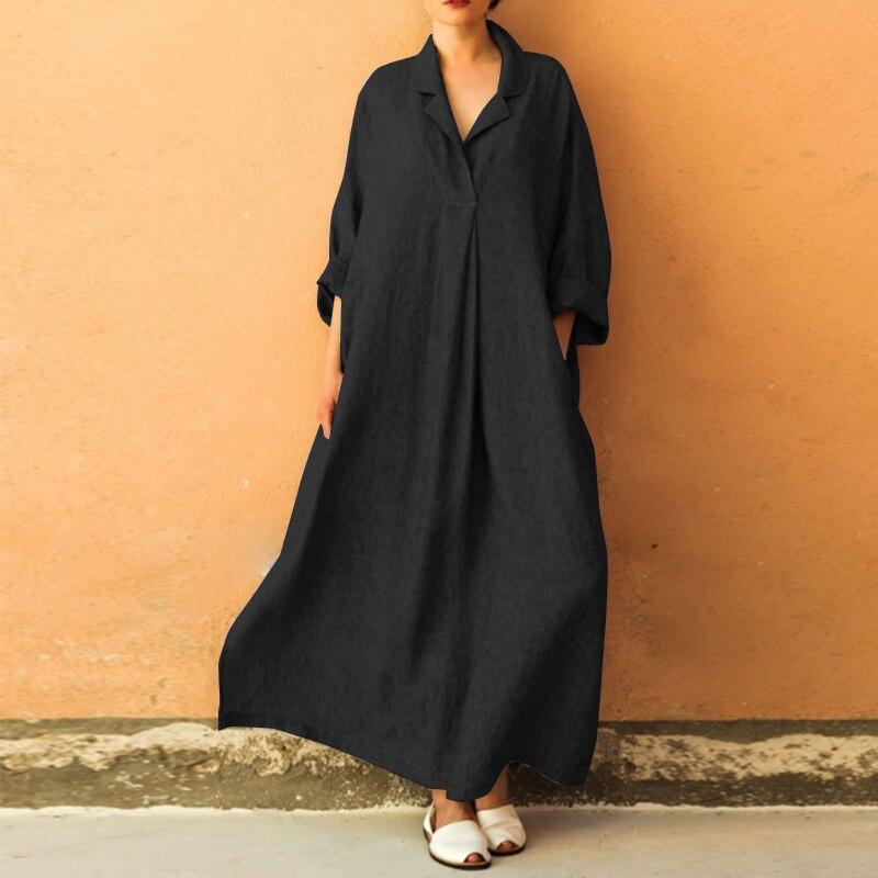 31484dec99247 5] ZANZEA 2018 Autumn Women Long Sleeve Solid Loose Long Dress Femme ...
