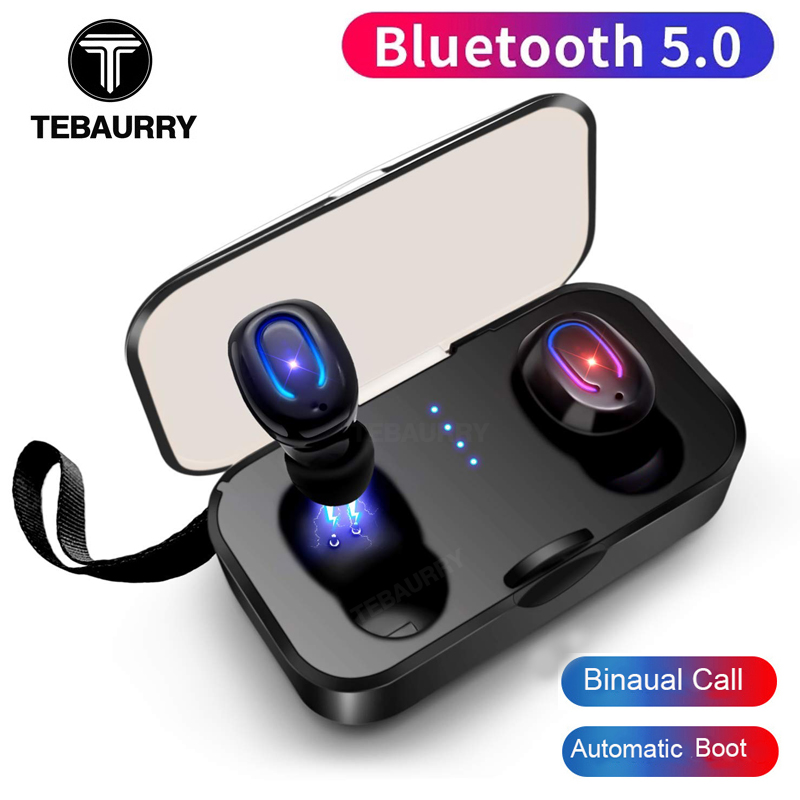 TEBAURRY T-18S Invisible Bluetooth Earphones 5.0 TWS Mini Wireless Earbuds Stereo Deep Bass Headset with charging box PortableTEBAURRY T-18S Invisible Bluetooth Earphones 5.0 TWS Mini Wireless Earbuds Stereo Deep Bass Headset with charging box Portable