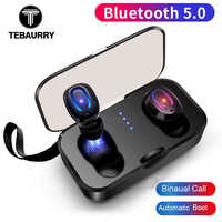 TEBAURRY T-18S auriculares Bluetooth invisibles 5,0 TWS Mini auriculares inalámbricos estéreo graves profundos auriculares con caja de carga portátil