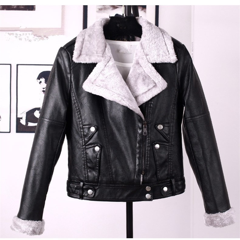 Winter Faux PU   Leather   Jacket Women Faux   Leather   Lambs   Suede   Jacket Coats Female Warm Thick Outerwear