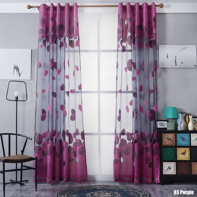 US 30 OFF New Hot Window Kitchen Bathroom Curtain Door Divider Sheer Panel Drapes Scarf Jacquard Leaves Curtain With Without Beads 236291 In