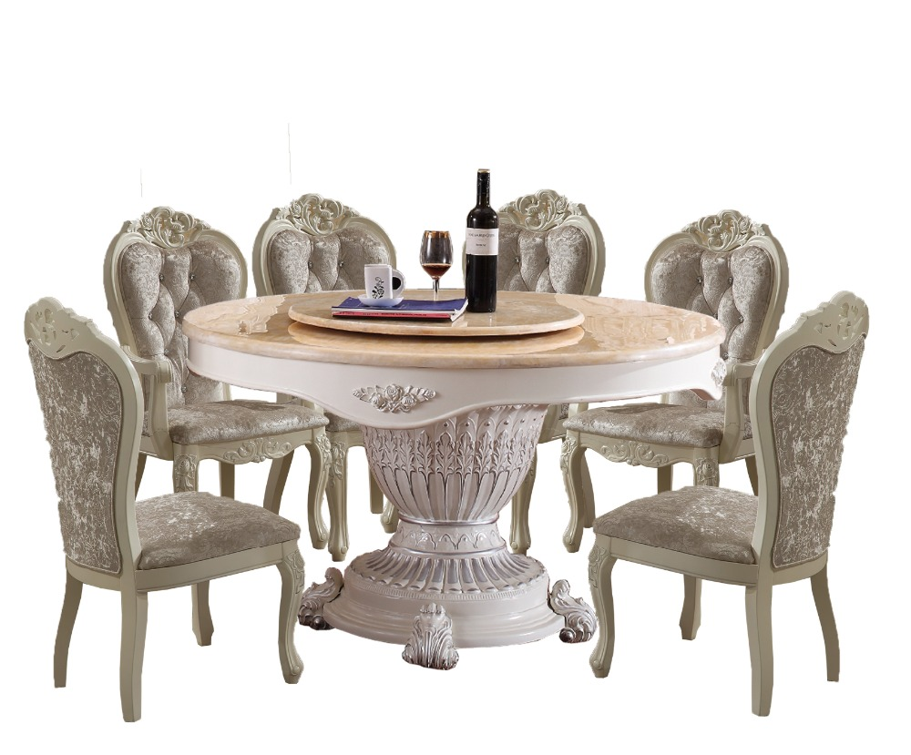2017 Meuble Dining Table Sets Free Shipping To UK!! French Style Marble Top Dinning Table With 6pcs Chairs marble table natural travertine dining table set luxury high quality natural store marble dining furniture table set nb 175