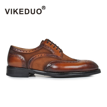 Superstar Vikeduo Luxury Flat Shoes Men's Derby 100% Genuine Leather Custom Made Lace-up Formal Wedding Party Original Design 2018 real superstar hand painted vintage flat men oxford shoes custom hot dress wedding party genuine leather original design
