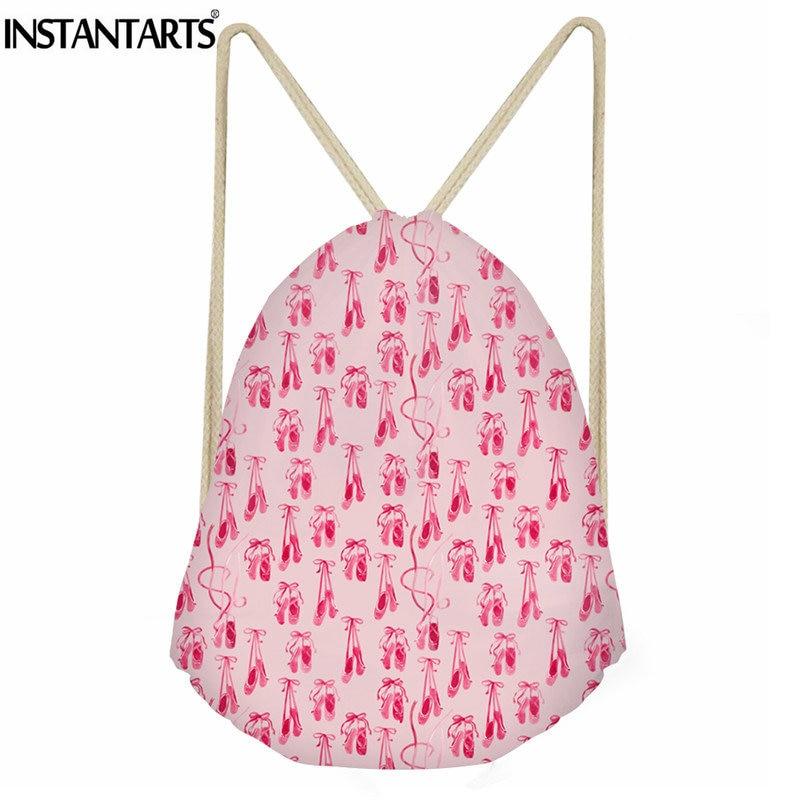 9ad5c3cad60 INSTANTARTS Girls Sport Gym Bag Ballet shoes Printed Women Fitness  Drawstring Bag Ladies Travel Small Cinch
