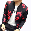 Jackets Men 2016 Autumn New Fashion Trend Men Flower Jacket Simple Stylish Slim Fit Coats Men Outwear Moleton Masculino