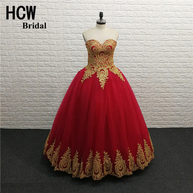 0608594ec647 Long Formal Prom Dresses Burgundy Color Ball Gown Tulle Puffy Prom Gowns  With Gold Lace 2019 High Quality Wedding Party Dress