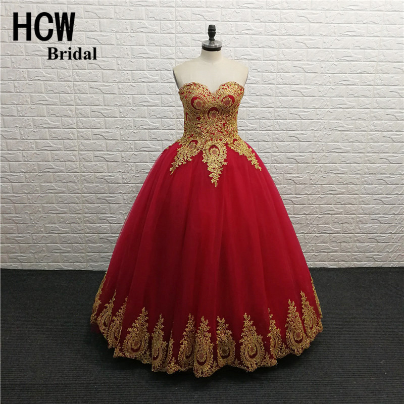 Long Formal   Prom     Dresses   Burgundy Color Ball Gown Tulle Puffy   Prom   Gowns With Gold Lace 2019 High Quality Wedding Party   Dress