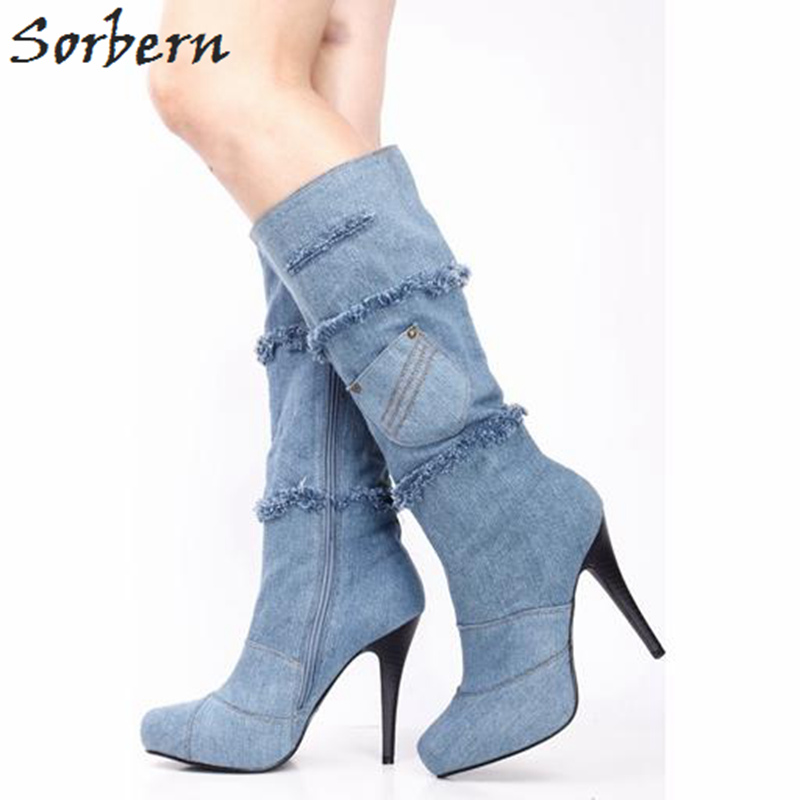 Sorbern Knee High Boots Women Pocket Round Toe Platform Spring Shoes Ladies Sexy High Heel Women Boots Custom Size 33-46 sorbern extrem high heel strange style wedges thigh high boots designer platform boots long custom shoes women plus size 4 15