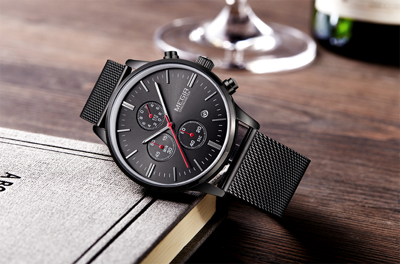 Topdudes.com - Stainless Steel Chronograph Relogio Masculino for Businessmen